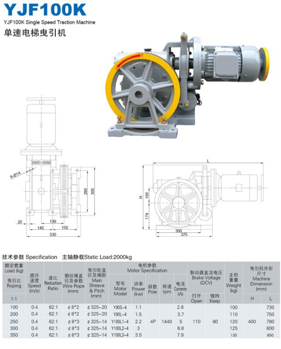 Geared traction machine YJF-100K