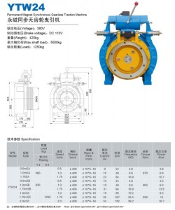 GEARLESS TRACTION MACHINE YTW24